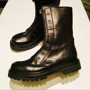 Diesel Black Gold handmade combat boots front zip